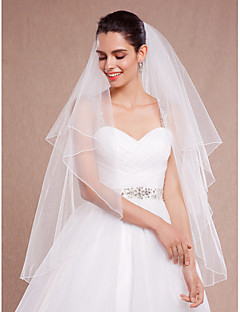 Wedding Veil Two-tier Blusher Veils / Fingertip Veils Pencil Edge Tulle Ivory White / Ivory