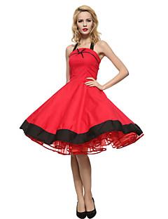 Mulheres Vestido Rodado Plus Sizes / Vintage / Festa Color Block Altura dos Joelhos Com Alças Algodão
