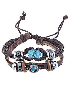 Pánské Wrap Náramky Kožené náramky Jedinečný design Módní Ručně vyrobeno bižuterie Kožené Šperky Šperky Pro Párty Denní Ležérní Vánoční