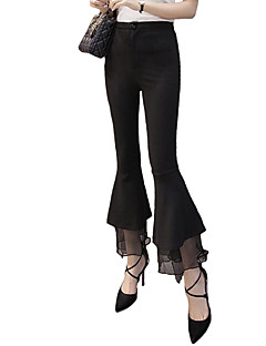 Women's Solid Black Bootcut Pants,Casual / Day