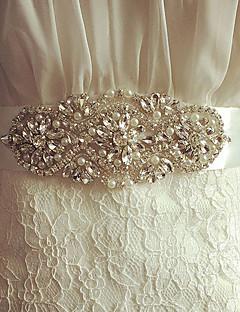 Satyna Ślub / Impreza / bal Szarfa-Kryształki / Imitacja pereł Damskie 98 ½ cali (250cm) Kryształki / Imitacja pereł