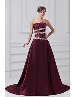 Formal Evening Dress A-line Strapless Court Train Taffeta with Appliques / Side Draping