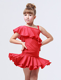 Kids' Dancewear Outfits Children's Training Spandex / Polyester Ruched / Ruffles 2 Pieces Black / Fuchsia / Red Latin Dance Backless