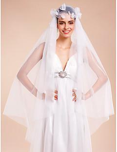 Romantic Handmade petal Wedding Veil One-tier Fingertip Veils Cut Edge