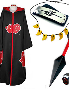 Inspired by Naruto Sasuke Uchiha Anime Cosplay Costumes Cosplay Suits / More Accessories Print Black / Red Cloak / More Accessories
