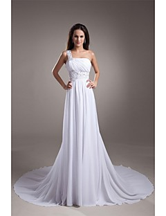A-line One Shoulder Court Train Chiffon Satin Wedding Dress with Beading Draped