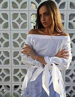De las mujeres Sexy / Chic de Calle Casual/Diario Primavera Blusa,Escote Barco A Rayas Manga Larga Poliéster Azul / Blanco Fino