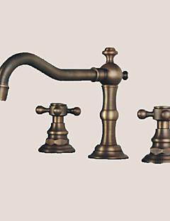 weit verbreitet zwei Griffe drei Löcher in der antiken Bronze Waschbecken Wasserhahn