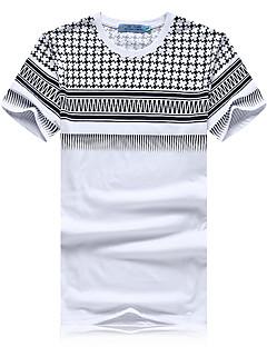 Men's Print Casual / Sport T-Shirt,Cotton Short Sleeve-White