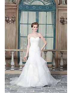 A-line Wedding Dress Sweep / Brush Train Sweetheart Satin with Appliques / Beading / Button