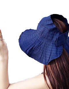 Women Summer Solid Velcro Patch Large Brim Foldable Wind Drawstring Sun Hat