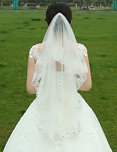 Wedding Veil Two-tier Fingertip Veils Lace Applique Edge Tulle White