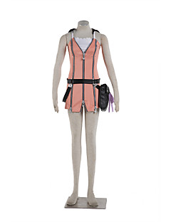 Inspired by Kingdom Hearts Sora Anime Cosplay Costumes Dresses Solid / Patchwork Pink Sleeveless Dress / Belt / Bag / More Accessories
