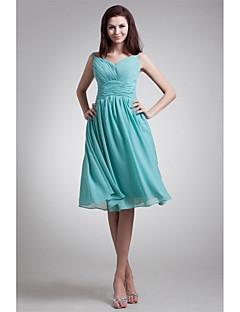 Knee-length Chiffon Bridesmaid Dress - A-line V-neck with Sash / Ribbon / Side Draping