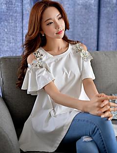 T-shirt Da donna Per uscire Moda città Estate,Tinta unita Rotonda Cotone / Elastene Blu / Rosa / Bianco Manica corta Medio spessore