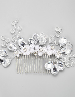Women's / Flower Girl's Rhinestone / Alloy / Imitation Pearl Headpiece-Wedding / Special Occasion Hair Combs 1 Piece White Round