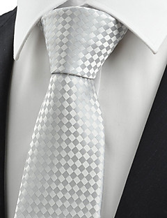 KissTies Men's Silver Ash Gray Check Tie Formal Wedding Party Work Casual Necktie With Gift Box