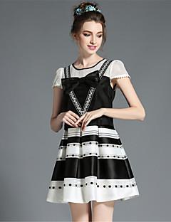 aofuli kvinders vintage retro plus size bue patchwork hule stribe print falske to stykke kortærmet kjole