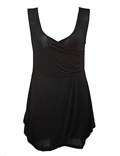 婦人向け プラスサイズ / セクシー シース ドレス,ソリッド 膝上 ディープVネック コットン / ポリエステル
