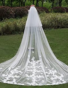 הינומות חתונה שתי שכבות צעיפי קתדרלה חיתוך קצה טול / תחרה שנהב