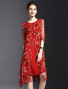 Mulheres Bainha Vestido,Happy-Hour / Tamanhos Grandes Vintage / Simples Estampado Decote Redondo Altura dos Joelhos Meia MangaVermelho /