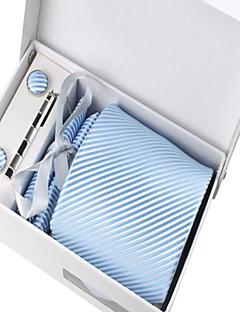 Men's Fashion Light Blue Striped Polyester Tie Set: Tie Hankie Cufflink Tie Clip with Box Bag