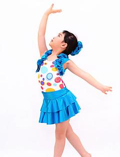 תלבושות למעודדות תלבושות בגדי ריקוד ילדים ביצועים ספנדקס / נצנצים קריסטלים / rhinestones / Paillettes / קפלים 3 חלקים בלי שרוולים טבעי