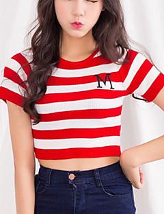 De las mujeres Bonito / Chic de Calle Casual/Diario Verano Camiseta,Escote Redondo A Rayas Manga Corta Algodón / LicraAzul / Rojo / Negro