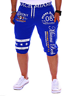 Men's Print Sport Shorts,Cotton Black / Blue / White / Gray
