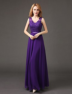 Formal Evening Dress A-line V-neck Floor-length Chiffon / Lace with Lace / Sash / Ribbon