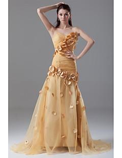 Serata formale Vestito - Fantasia floreale A sirena A cuore Strascico a terra Organza con Fiore (i) A pieghe