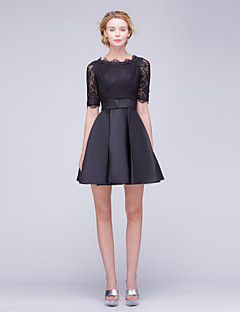 Cocktail Party Dress A-line Bateau Short/Mini Lace / Satin