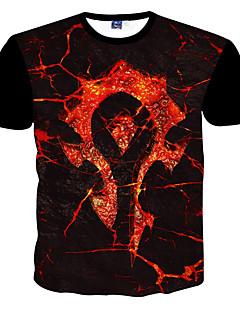 男性用 プリント カジュアル / フォーマル / スポーツ / プラスサイズ Tシャツ,半袖 ポリエステル,ブラック