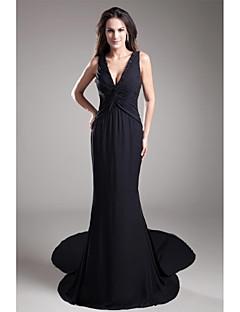 포멀 이브닝 드레스-블랙 트럼펫/머메이드 코트 트레인 V-넥 쉬폰