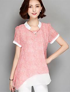 De las mujeres Retazos Camiseta-Escote Redondo-Poliéster-Manga Corta