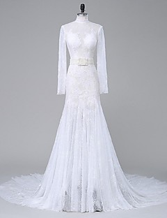 Lanting Bride Trumpet / Mermaid Wedding Dress Chapel Train High Neck Lace / Organza with Appliques / Beading / Crystal