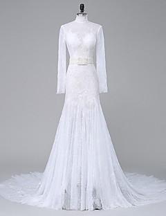 Lanting Bride Havfrue Brudekjole Kapellslep Høyhalset Blonder / Organza med Appliqué / Perlearbeid / Krystall
