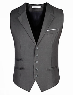 Herren Solide Lässig/Alltäglich Arbeit Blazer Ärmellos Standard Baumwolle Acryl Polyester