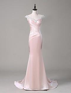 Formal Evening Dress Trumpet/Mermaid V-neck Sweep/Brush Train Stretch Satin