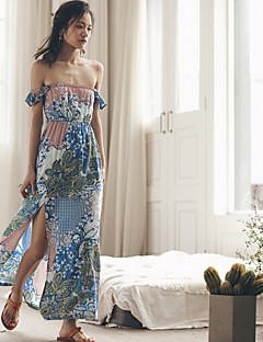 seitdem sexy / Boho floralen Swing Kleid, trägerlos maxi Baumwolle Frauen