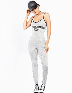 Women's Sexy U neck Print Letter Strap Sleeveless Sports Yoga Jumpsuits