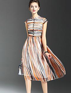משי / פוליאסטר מידי עומד פסים שמלה סווינג סגנון רחוב נשים