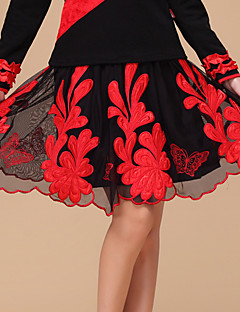 Latin Dance Skirts Women's Performance Tulle / Milk Fiber Embroidery / Flower 1 Piece Fuchsia / Red Colors