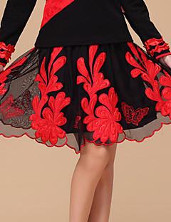 Dança Latina Fundos Mulheres Actuação Tule / Fibra de Leite Bordado / Flor(es) 1 Peça Sem Mangas Natural Saia L:49cm/XL:51cm