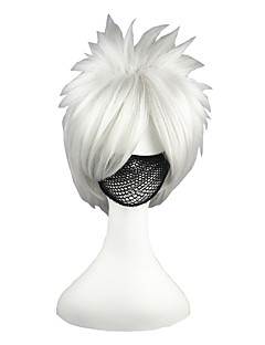 Cosplay Wigs Naruto Hatake Kakashi Silver Short Anime Cosplay Wigs 35 CM Heat Resistant Fiber Male / Female