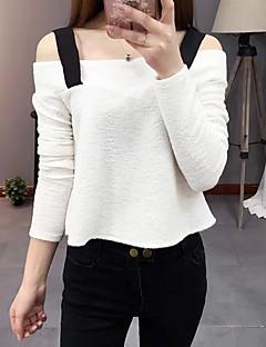Blusa Da donna Casual Sensuale / Moda città Estate,Collage Con bretelline Poliestere Bianco / Nero Manica lunga Sottile
