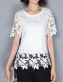 Women's Casual/Daily Street chic Summer Blouse,Solid Round Neck Short Sleeve Pink / White / Gray Polyester Medium