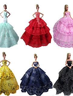 Party/Abends Kleider Für Barbie-Puppe Rot / Schwarz / Rosa / Gelb / Tintenblau / Zyan Kleider Für Mädchen Puppe Spielzeug