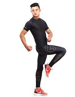GETMOVING 男性用 女性用 ランニングTシャツ(パンツ付き) 半袖 速乾性 人間工学デザイン 抗紫外線 高通気性 (>15,001g) 高通気性 ソフト ビデオ圧縮 モイスチャーコントロール ホールドフィット 滑らかトラックスーツ ベースレイヤー