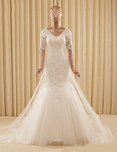 Trumpet / Mermaid Wedding Dress Watteau Train V-neck Lace / Tulle with Appliques / Criss-Cross / Lace